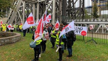 Warnstreik am Schiffshebewerk Niederfinow am 15.10.2020