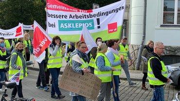 Warnstreik bei den Asklepios Fachkliniken Brandenburg am 21.09.2021 in Potsdam