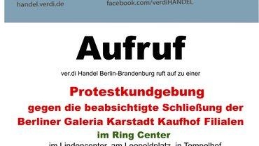 Aufruf zur Kundgebung am Montag, den 6. Juli um 15 Uhr vor dem Ring Center in Berlin